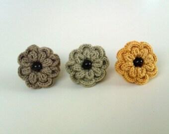 Flower Crochet Ring, Crochet Ring, Adjustable Flower Ring, Set of 3 Rings, Yellow Ring, Yellow Green Ring, Light Brown Ring