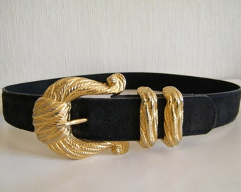 Vintage 80s Black Leather belt Country Casuals/ Genuene suede black leather belt gold bukle Bohemia Boho Gipsey Belt Italy