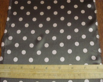 "100% Silk Charmeuse Dots - 3/8"" Tan Dots on Chocolate"