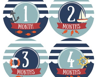 Nautical Monthly Baby Stickers, Baby Monthly Stickers, Baby Boy Monthly, Baby Milestone Stickers, Navy Bodysuit Stickers, Baby Shower Gift