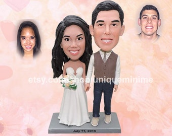 Personalized cake topper, wedding cake topper, rustic cake topper, Bobblehead cake topper, Custom Bobblehead Cake Topper