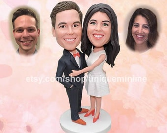Unique Personalized Engagement or Wedding Gift   Custom Wedding Decor Gift for Couples Custom   Bobblehead dolls