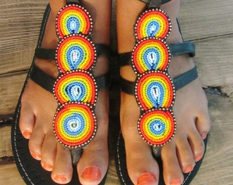 African Handmade Leather Masai Sandals / Made In Kenya