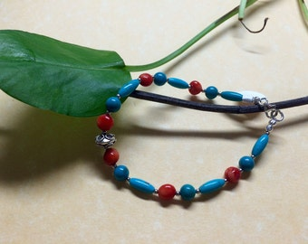 Bamboo Coral, Turquoise, and Sterling Silver Bracelet