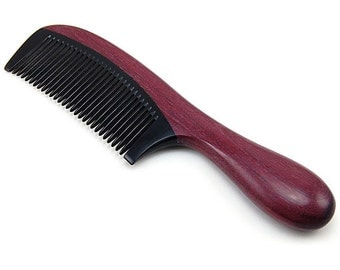 """Natural Buffalo Horn Comb with Round Thick Purpleheart Wood Handle 7"""" (18cm)"""