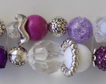 Purple and Silver Acrylic Beaded Interchangeable, Double Stranded, Removable, Stretchy Watch Band