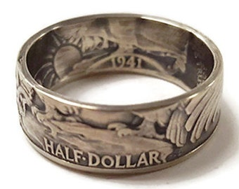 Silver Walking Liberty Half Dollar Ring : Double Sided