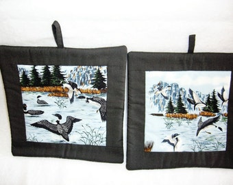 Set of 2 Canadian Geese Potholders