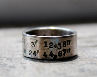 With additional personalization Silver Latitude Longitude Band Mens Ring