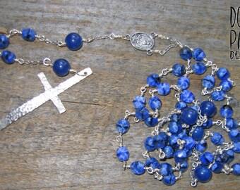 Blueberry Rosary, Rosary, Blue Rosary, Long Rosary, Catholic Jewelry, Blue Jade, Lapis Lazuli, Rosary Chain, Sterling Cross, Cross, Silver