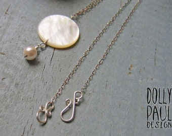 Coin Pearl Necklace, Pearl, White, Moon, Pisces, Natural Gemstone, Silver Chain, Ocean Gem, Beach Jewelry, Sea Treasure