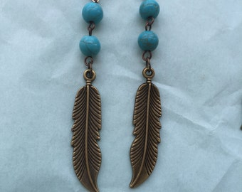Feather Earrings: Turquoise