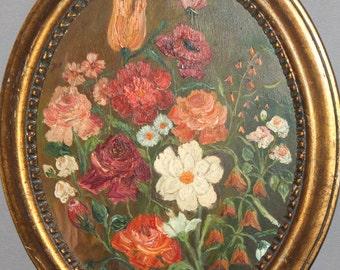 Antique impressionist still life oil painting