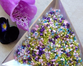 Toho Seed Bead Mix 25 grams Various Shapes Sizes ~ Fairy Meadow ~ Yellow, Purple, Blue, Pink ~ Round, Hexagon