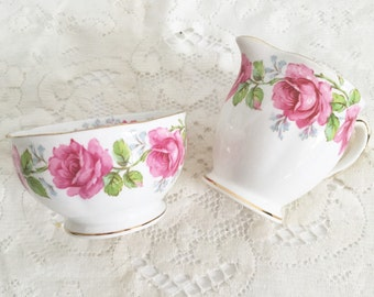 """Pretty Vintage Bell China Creamer and Sugar Set in """"Lady Alexander Rose"""" - Victorian Floral Rose Creamer and Sugar"""