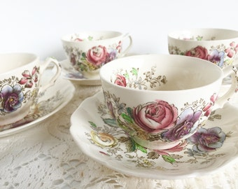 "Johnson Brothers ""Sheraton"" Teacup and Saucer: Floral Teacups, Vintage English Tea Party Teacups - Trio Plates Available"