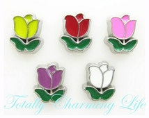 Color Rose Flower Floating Charm fits Living Memory Floating Origami Locket Necklace Jewelry Flowers Garden