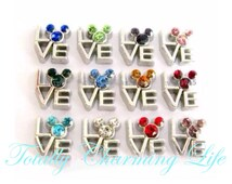 Rhinestone Mickey Love Birthstone Month Stone Floating Charm fits Living Memory Floating Origami Locket Necklace Jewelry Disney Character