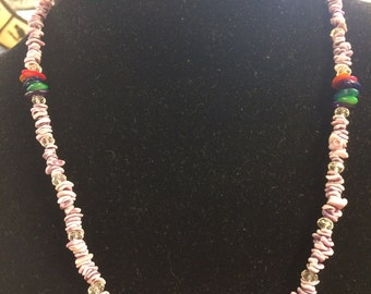 Shells with swarovski crystals beaded necklace