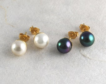 Pearl Studs, Stud Earrings, Silver Studs, Gold Studs, Bridesmaid Earrings, Simple Earrings, June Birthstone, Minimal Studs, Gifts Under 10