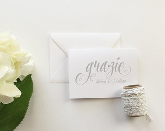 Grazie Wedding Thank You Cards (set of 10) - Personalized thank you cards - Grazie thank you cards - modern calligraphy cards