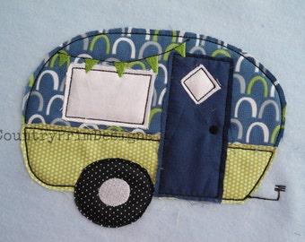 Raggy Camper Applique, Easy Camper Machine Applique Design, Camping Embroidery, Vintage Camper Applique