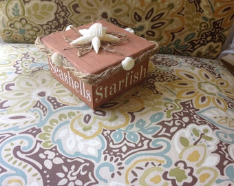 Seashell box, wooden box, storage box, decorative boxes