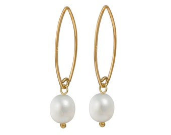 Goldplated Silver Earrings - Pearl