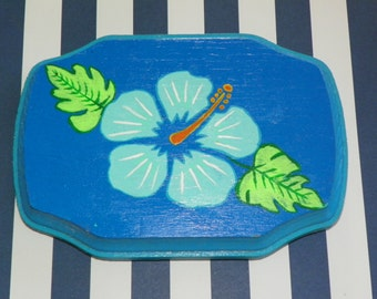 Blue Hibiscus Plaque