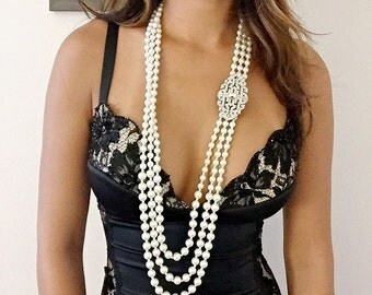 1920s necklace, flapper necklace, flapper accessories roaring 20s 1920's jewelry Great Gatsby Jewelry, Vintage Downton Abbey Downtown Abbey
