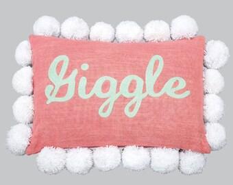 """Pink Pom Pom Pillow """"Giggle"""" P003"""