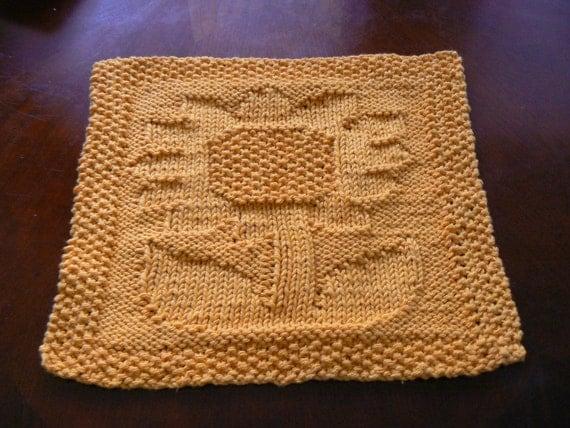 Hand Knit Golden Sunflower Cotton Dish Cloth or Wash Cloth