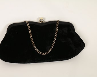 Black Velvet Ladies Purse Clutch Retro 1960's a bit Goth