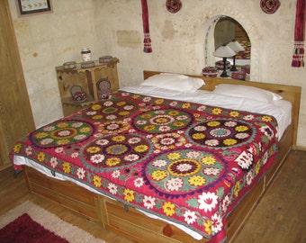 SUZANI BED SPREAD,Suzani Wall Hanging,Red Suzani,Interiors Suzani,Colorful Suzani,Ethnic Suzani,Boho Chic Suzani,Boho Style Suzani,Bohemian