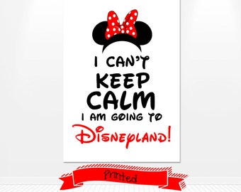 PRINTED Disney Minnie Mouse I can't keep calm I'm going to Disneyland! Iron On Transfer Red Minnie Mouse