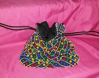 Vintage Retro Rainbow Plastic Beaded Purse, Black, Pull / Draw String