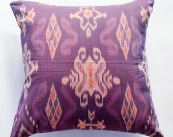16x16 12x20 20x20 Purple Ikat Cushion Cover Pillow Bali Indonesia Handwoven Cotton Ethnic Multi Colored Decorative Unique Throw Pillow Gift