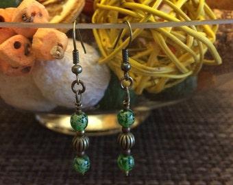 Aqua glass earrings 6mm