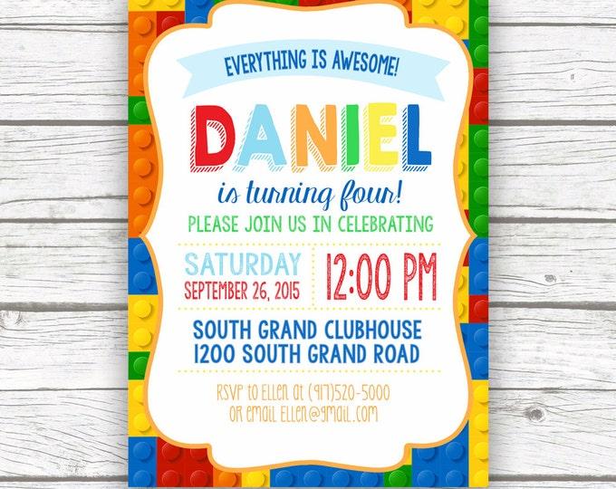 Building Blocks Birthday Party Invitation, Toy Bricks Invite, Boy Girl Birthday Invitation, Printed or Printable Invitation, Matching Back
