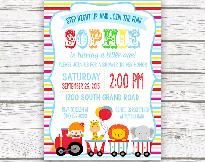Circus Baby Shower Striped Invitation, Boy Girl Baby Shower, Circus Carnival Theme, Printed or Printable Invitation, Matching Back