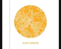 Ann Arbor, MI Map -  Print - Michigan - Wall Art - Poster - Circle Map