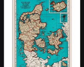 Denmark Map - Print - Poster