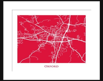 Oxford Map - Map of Oxford Mississippi - University of Mississipi - Ole Miss - Rebels - Print - Poster - Line Map