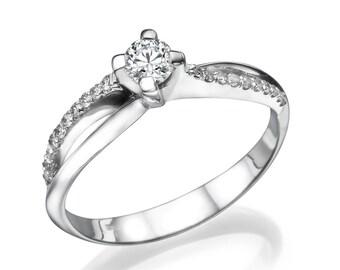 Solitaire Diamond Engagement Ring 0.25CT F SI1, 4 Prong Setting on 14K White Gold Split Diamond Band, Women's Engagement Ring, Minimalist