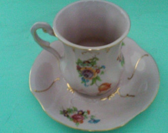 Reduced! Pink Leander  RGK  Cup and saucer - Circa 1940's -14 kt gold trim. JUST REDUCED!