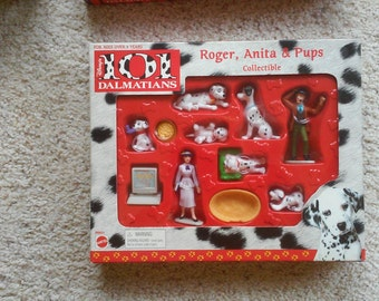 """Two Vintage 90""""s 101 Dalmation Collector's Sets- (1) Cruella, Jasper and Pups and (2) Roger, Anita and Pups. Just drastically reduced! 20 ea"""