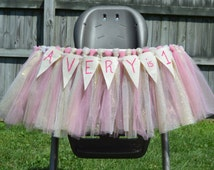 High Chair Tutu, High Chair Skirt, Tutu, Tulle, Birhtday, first birthday, Tutu skirt, Pink and Gold, Pink tutu, Gold tutu