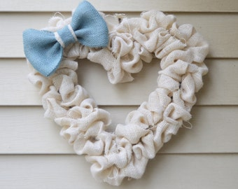Burlap Heart Wreath with Blue Bow, Heart, Wreath, Blue, Bow