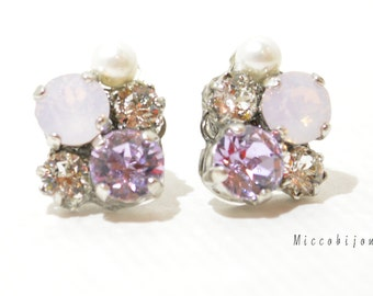 Swarovski Crystal Elements Earrings - Purple