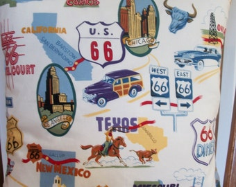 """16""""x16"""" Iconic Route 66 pillow cover displaying memorabilia from the past, including highway signs, states and images for each."""